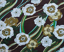 Modal Spandex Flower Print Fabric Jersey Knit by Yard Gold White on Brown