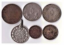 6 Oriente Medio Colección de monedas, Kuwait 1961 1 & 5 Fils, Sudán, Omán, Persia monedas
