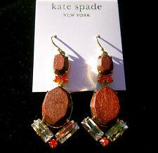 "Kate Spade Gold Plated ""CENTRO TILES"" Dark Wood/ Crystal Drop Earrings IPANEMA"