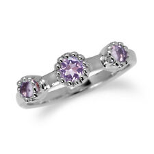 Natural Amethyst White Gold Plated 925 Sterling Silver Stack/Stackable Ring