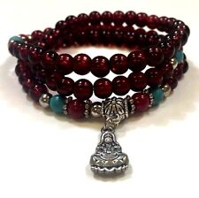 Buddha Multilayer Vintage Tibet Silver Pendant Red Agate Turquoise Beats 7 inch