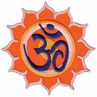 Om Symbol Lotus-Blüte Blume Yoga Goa Zeichen Aufnäher Patch Bügelbild Aufbügler