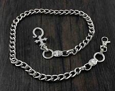 Silver Tone Metal Biker Trucker Punk Keychain Key Jean Wallet Chain W/ Hook