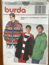 Burda Mens Reversible Hoodie Jacket Pattern 3942 Factory Sealed~Vintage