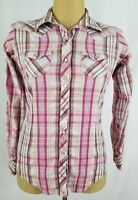 Ariat Women's Pearl Snap Western Rodeo Shirt Small Pink White Plaid Long Sleeve