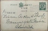 King George V ½ Penny Postcard Posted 6th February 1913