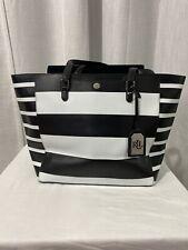 LAUREN Ralph Lauren Black & White Striped Large LEATHER Tote Bag Purse XLARGE