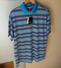 Golf Shirt NIKE Tour Performance Dry Fit Large Genuine Blue black white stripe