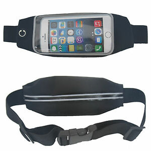 Euro Mobile Phone Belt Bum Bag Travel Jogging - Black