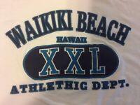 VTG Waikiki Beach Athletic Dept. Graphic Tourist T Shirt Single Stitch White