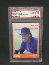 Rare 1988 Star Charlotte Rangers #23 Sammy Sosa Pre-Rookie Card RC Graded PSA 10