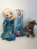 """Disney Frozen 12"""" Elsa of Arendelle 19"""" Elsa Plush & 10"""" Sven Soft Plush Toys"""
