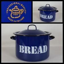 More details for vintage silesia rysnik blue black enamel double handel bread bin