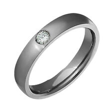Wide Wedding Band Size 4 to 14 Titanium Ring W Diamond Jewelry Comfort Fit 4mm