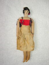 Antique Unusual Handmade Cloth Doll - Embrodered Features, Hair and Shoe details