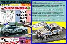 ANEXO DECAL 1/43 TALBOT SUNBEAM LOTUS GUY FREQUELIN TOUR DE CORSE 1981 2nd (01)