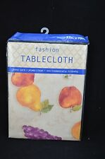 Vinyl Tablecloth 52 x 70 Summer Fruit Grapes Pears Apples #54
