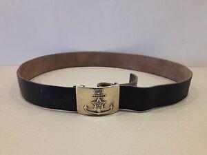 Soviet Vintage Leather Belt Military Sailor. Brass Buckle Anchor Navy. Original