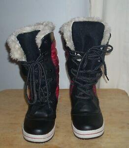Mix No. 6 Faux Fur Red Black Plaid Design Rain Snow Boots Women's Size 6