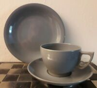 Replacements for Vintage Bakelite! Single Cup, Saucer & Plate in Grey Melaware
