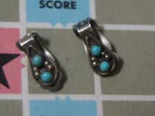 Vintage Native American Silver Turquoise Clip on earrings drop shape 1950-60's