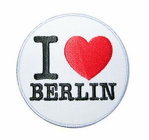Patch Aufnäher Aufbügler - I Love BERLIN - rund klein oder gross