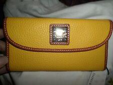 Dooney & Bourke Yellow Dillen Continental Leather Checkbook Wallet NWT