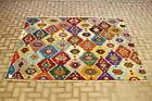 Oushak Hand Knotted Wool Area Rug Oushak Colorful Vintage Ethnic Carpet 7x7 ft