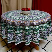 Handmade Elephant & Peacock Print 100% Cotton Tablecloth 69 Inches Round Green