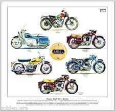 Clásico Ariel motocicletas-Fine Art Print-Ht5 Líder Oro Flecha Roja Hunter