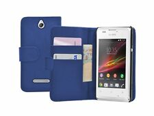 Wallet BLUE Leather case cover pouch for Sony Xperia E / C1504 / C1505 experia