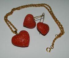 Parure collana e orecchini a cuore in pasta di Corallo Rosso OMA19