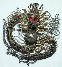 Antique Chinese DRAGON 中國龍 銀 腳 Silver Pin Asian legendary Ruby Eyes w/Box b10