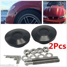 Metal Black Car Racing Push Button Billet Hood Pins Lock Clip Quick Pins 2Pc Kit