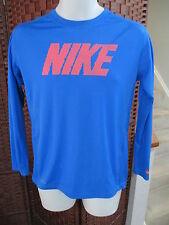 Women's Nike Dri Fit Long Sleeve Athletic Shirt Size XL Big LOGO Blue Orange