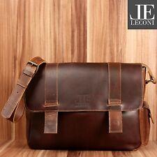 LECONI Collegetasche Messenger Bag DIN A4 Leder Used Look mittelbraun LE3031