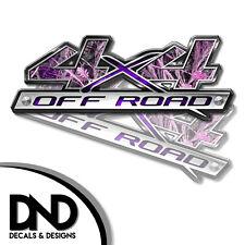 4x4 Decals 2 Pk Sticker for Chevy Silverado Sierra truck - Pink Highgrass - D&10