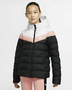 Nike Sportswear Kids Girl's Hooded Puffer Coat Size M Jacket  CV9692-011
