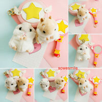 Cute Mini Hamster KeyChains Fluffy Toy Doll Car Cell Phone Key Ring Pendent