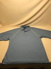 Footjoy Mens Size L Blue Solid 100% Polyester Short Sleeve Polo Shirt