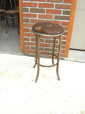 Mid Century Industrial Age Metal Bar Stool Leather Top Steampunk Man Cave Vintag
