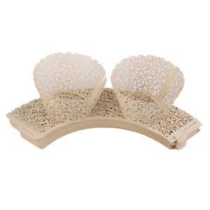 50pcs Vine Lace Laser Cut Cupcake Wrappers Wedding Favor Cake Decoration Ivory