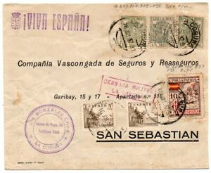 1937 SPAIN CIVIL WAR CONSORED COVER, SPECIAL MOVIL STAMPS, PATRIOTIC !
