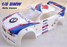 Carrozzeria Body 1/8 Rally Games GT BMW M3 vericiata e ritagliata BIANCA Painted