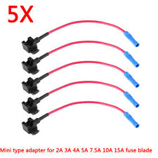 5Pcs Car Micro Insert Mini Circuit Fuse Tap Adapters Holder for 2-15A Fuse Blade
