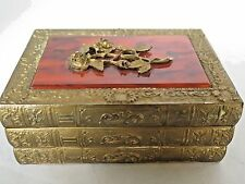 Old Metal Music Box Shaped like Book Stack Raised Flower on Cellulite top 5""