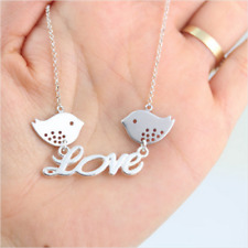 LOVE Song Bird Charm Pendant Necklace Statement Mothers Day Mom Womens Jewelry