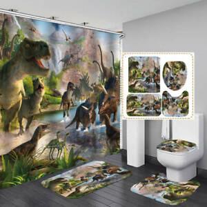 Dinosaur Shower Curtain Bath Mat Toilet Cover Rug Kids Bathroom Decor