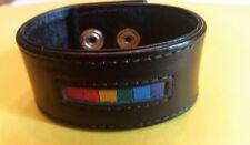 "Gay Pride Rainbow Bar Black Leather Wristband 7-8"" - New"