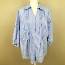 Avenue The Pleat Shirt 14 16 Blue Polka Dot 3/4 Sleeve Button Down Cotton Top Y3